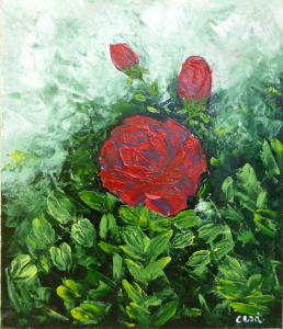 17 - Rose - Olio a spatola 24x20