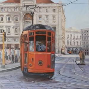 2012, Tram in Piazza Cordusio, Olio su tela, 50 x 50