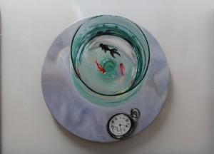 L' ORA D' ACQUA, olio su tela, diametro cm. 40 , 50 x 70