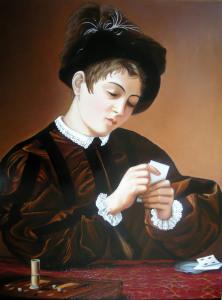 Giocatore di carte, omaggio a Caravaggio - 70x50 - olio su tela