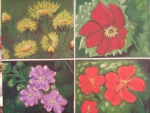 Composizioni floreali - acrilico su tavola 100x70