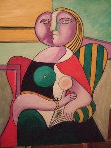 Donna con libro - olio su tela - 80x60