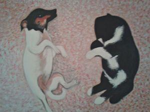 Jechi e Rubi Acrilico e olio su tela -  60x50