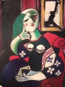 La donna seduta - olio su tela 70x50