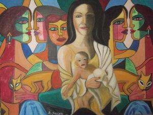 La maternità - olio su tela - 100x70