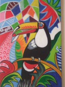 Tucano toco - olio su tela 50x40