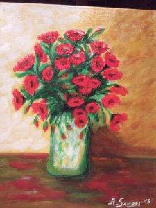 Vaso di papaveri rossi - olio su tela 50x40