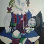 OPERA N. 10 Maya con le bambole 83 x 60 olio su compensato